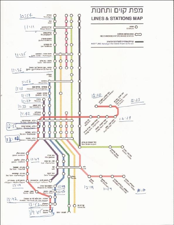 מפת קווים ותחנות